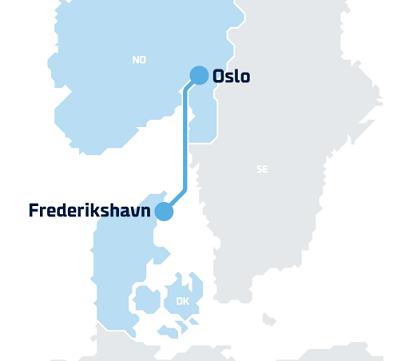Route Frederikshavn-Oslo