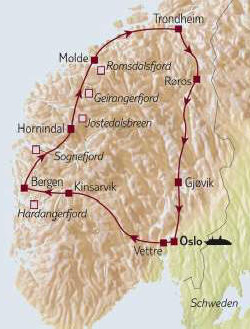 Karte Gletscher_Fjorde Autorundreise