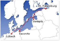 Karte Lübeck-St.Peterburg und Ventspils